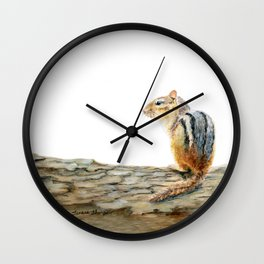 Little Chip - a painting of a Chipmunk by Teresa Thompson Wall Clock
