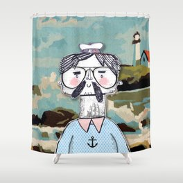 Cape Cod Sailor with eye glasses Shower Curtain