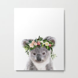 Baby Koala With Flower Crown, Baby Animals Art Print By Synplus Metal Print