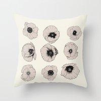 poppy Throw Pillows featuring poppy by NOA ALON ART