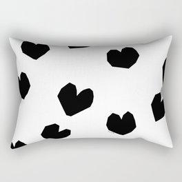 Love Yourself no.2 - black heart pattern love minimal black and white illustration Rectangular Pillow