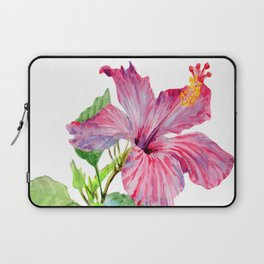 Tropical Pink Hibiscus Watercolor Laptop Sleeve