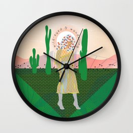 Wild-Eyed & Wandering, Woman in the Desert Contemporary Cactus Illustration Wall Clock