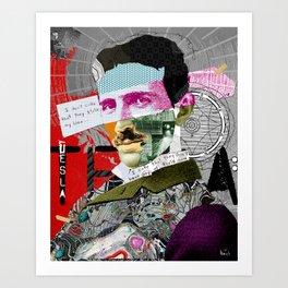 Nikola Portrait Collage Art Art Print