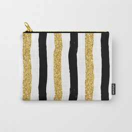 Black and Gold Glitter Brushstroke Stripes Carry-All Pouch