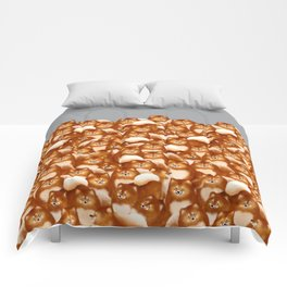 Pomeranians (Gray Background) Comforters