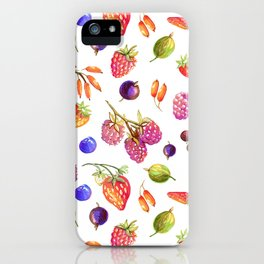 hand drawn oil berries iPhone Case