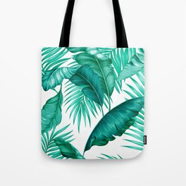 HAWAIIAN GARDEN TROPICAL LEAVES   turquoise white Tote Bag