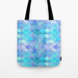 Aqua Pearlescent & Gold Mermaid Scale Pattern Tote Bag