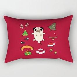 Christmas Pug Doll Rectangular Pillow