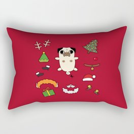 Christmas Pug Doll Rectangular Pillow