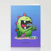 dinosaur Stationery Cards featuring Dinosaur by Artificial primate