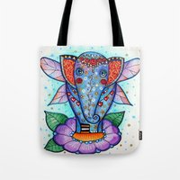 baby elephant Tote Bags featuring Baby elephant  by oxana zaika
