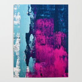 Early Bird: A vibrant minimal abstract piece in blues and pink by Alyssa Hamilton Art Poster