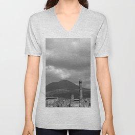 Mount Vesuvius Volcano Overlooking Pompeii Unisex V-Neck