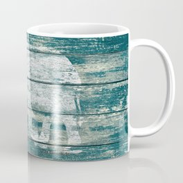 Elephant Silhouette on Blue Wood A215B Coffee Mug