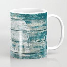 Elephant Silhouette on Blue Wood A215B Coffee Mug