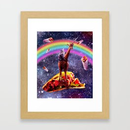 Space Cat Riding Giraffe Unicorn - Taco & Burrito Framed Art Print