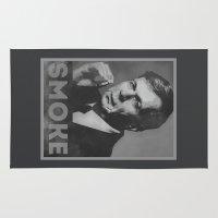 scully Area & Throw Rugs featuring Smoke! Funny Obama Hope Parody (Smoking Man)  by badbugs_art