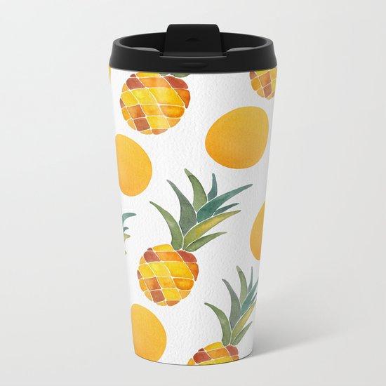 Pineapple Dot Pattern Metal Travel Mug