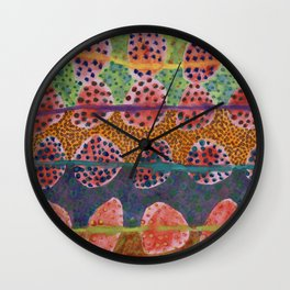 Red Round And Dotted Forms  Wall Clock