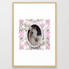 White orchids & Arabian mare Framed Art Print
