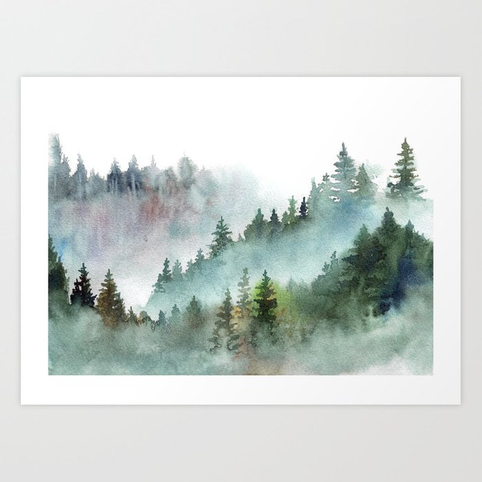 Watercolor Pine Forest Mountains in the Fog Kunstdrucke