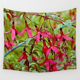 Pink Fuchsia Blossoms Wall Tapestry