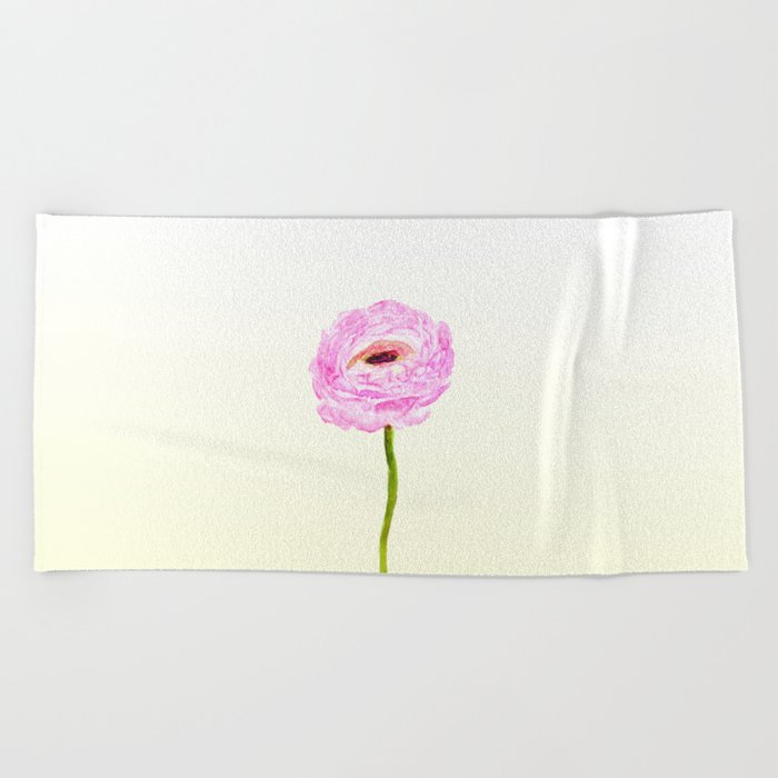 pink cultivited buttercup, Ranunculus Beach Towel