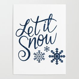 Let It Snow Blue Glitter Typography Winter Poster