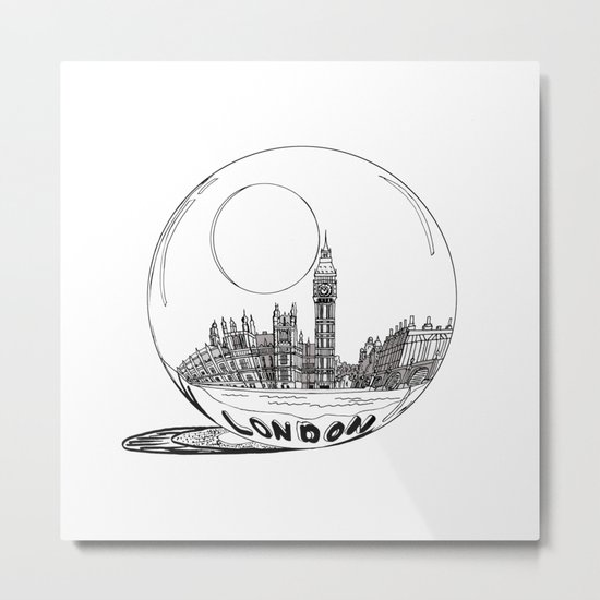 London in a glass ball Metal Print