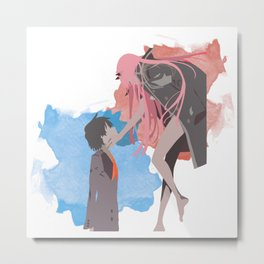 DARLING in the FRANXX Minimalist (Hiro and Zero Two) Metal Print