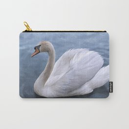 Drawing swan on blue lake water Carry-All Pouch
