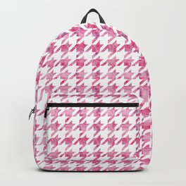 Watermelon Pink Houndstooth pattern Backpack