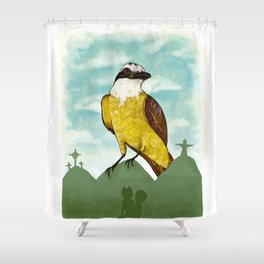Bichofue cali // great kiskadee colombia Shower Curtain