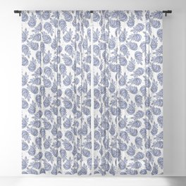 Cobalt Fern Sheer Curtain