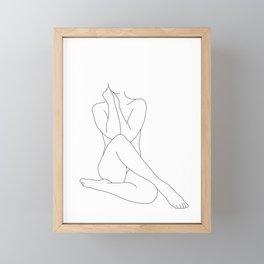 Nude figure line drawing illustration - Georgia Framed Mini Art Print