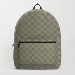 Olive Green Gingham Square Checker Board Pattern Backpack