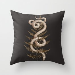 The Snake and Fern Throw Pillow