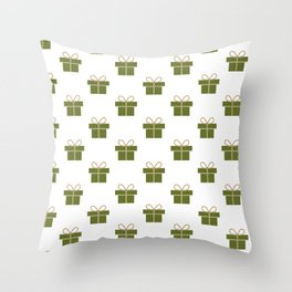 Christmas gifts - green and white Throw Pillow