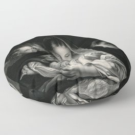 The Nativity, Virgin Mary with Infant Jesus surrounded by Angels Floor Pillow