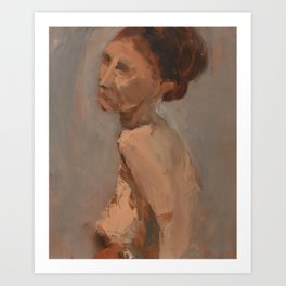 Figure Study with Red Hair Art Print