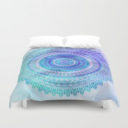 Blue Turquoise And Purple Watercolor Mandala Art Duvet Cover