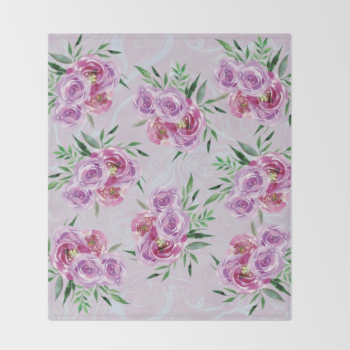 Purple mauve watercolor peonies falling bouquets Throw Blanket