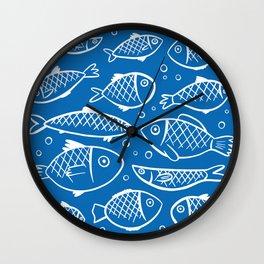 Fish blue white Wall Clock