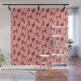 Chocolate Poodles Pattern (Pink Background) Wall Mural