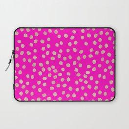 Modern rose gold glitter polka dots neon pink attern Laptop Sleeve