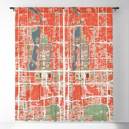 Beijing city map classic Blackout Curtain