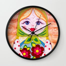 Russian Matryoshka Nesting Doll in Colour Wall Clock