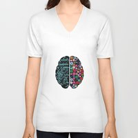 brain V-neck T-shirts featuring Brain by BlueLela